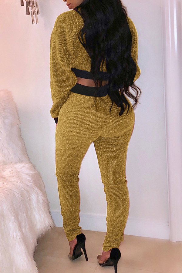 Lovely Euramerican Patchwork Long Sleeves Gold Knitting Two-piece Pants Set