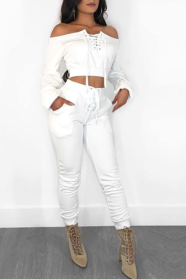 Lovely Euramerican Dew Shoulder White Twilled Satin Two-piece Pants Set