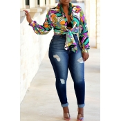 Lovely Euramerican Floral Printed Multicolor Shirt