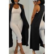 Lovely Euramerican Asymmetrical  Black Vests