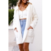 Lovely Euramerican Hooded Collar Long White Faux F
