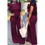 Lovely Casual Lace-up Flounce Design Wine Red One-piece Jumpsuit