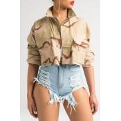 Lovely Casual Camouflage Printed Short Khaki Jacke