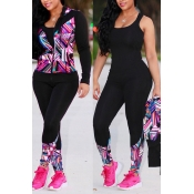 Lovely Sportswear Hooded Collar Printed Pink Knitting Two-piece Pants Set