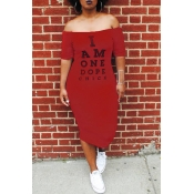 Lovely Euramerican Letters Printed Red Twilled Satin Mid Calf Dress