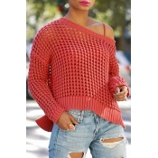 Lovely Casual Dew Shoulder Hollowed-out Bright Red