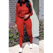 Lovely Casual Hooded Collar Broken Holes Red Blending Two-piece Pants Set