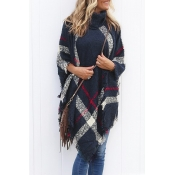 Lovely Fashion Tassel Loose Navy Blue Sweaters