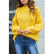 Lovely Sweet Long Sleeves Yellow Sweaters
