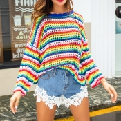 Lovely Sweet Hollowed-out Batwing Sleeves Multicol