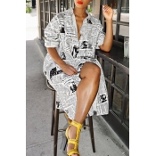 Lovely Fashion Printed White Blending Knee Length