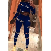 Lovely Casual Letters Printed Blue Two-piece Pants Set