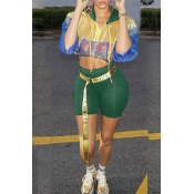 Lovely Vogue Hooded Collar Patchwork Green Two-piece Shorts Set(Without Belt)
