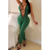 Lovely Sexy Printed Hollowed-out Skinny Green One-piece Jumpsuit