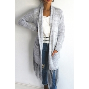 Lovely Casual Tassel Design Long Grey Cotton Coat