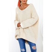 Lovely Euramerican Loose Long Beige Sweaters