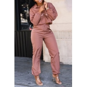 Lovely Casual Long Sleeves Deep Pink Two-piece Pants Set