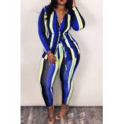 Lovely Casual Striped Blue Twilled Satin Two-piece