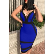 Lovely Sexy Deep V Neck Patchwork Royal Blue Twilled Satin  Knee Length Dress