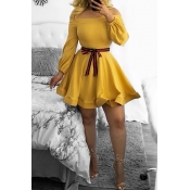 Lovely Casual Dew Shoulder Lace-up Yellow Cotton Blends Mini Dress(With Belt)