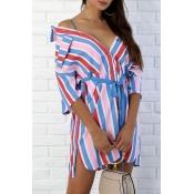 Lovely Euramerican Striped Multicolor Mini Dress (