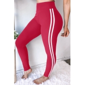 Lovely Euramerican Striped Skinny Wine Red Pants