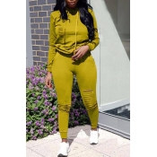 Lovely Casual Hooded Collar Broken Holes Yellow Blending Two-piece Pants Set