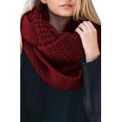 Lovely Euramerican Chunky Wine Red Knitting Scarve