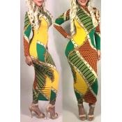 Lovely Fashion Printed Slim Green Mid Calf Dress (Batch Print)