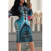Lovely Trendy Geometric Printed Sky Blue Knee Length Dress