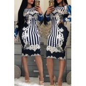 Lovely Trendy Long Sleeves Printed Black Knee Length Dress