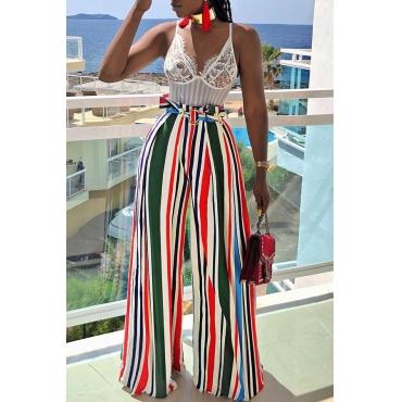 Lovely Euramerican Striped Loose Multicolor Blending Pants