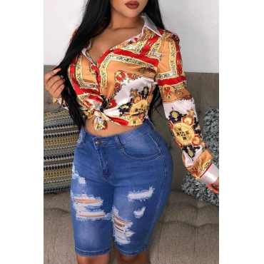 Lovely Casual Printed  Muticolor Blending  T-shirt (Batch Print)
