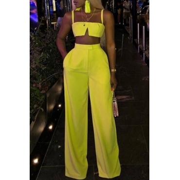 Lovely Casual Sleeveless Loose Yellow Blending Two-piece Pants Set