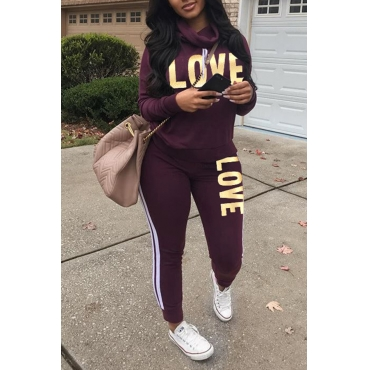 Lovely Sportswear Letters Printed Purple Twilled Satin Two-piece Pants Set