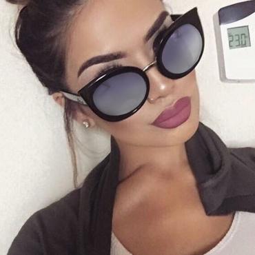 Lovely Euramerican Cat s Eye Frame Design  Black PC Sunglasses