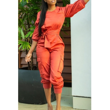 Lovely Vogue Lace-up Puffed Sleeves Orange One-piece Jumpsuit