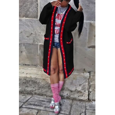 Lovely  Casual Patchwork Buttons Design Black Long Coat