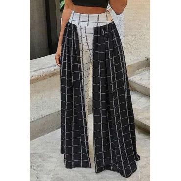 Lovely  Euramerican Grids Printed Loose Black Twilled Satin  Pants