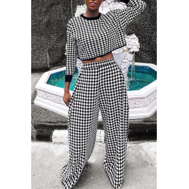 Lovely Vogue Grids Printed Black Twilled Satin Two-piece Pants Set