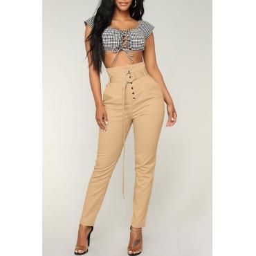Lovely  Euramerican Buttons Design Skinny Khaki Pants