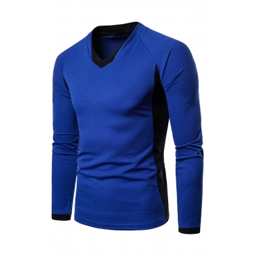 Lovely Euramerican Patchwork Blue Cotton T-shirt