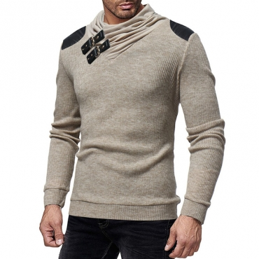 Lovely Casual Pullover Patchwork Khaki Sweaters