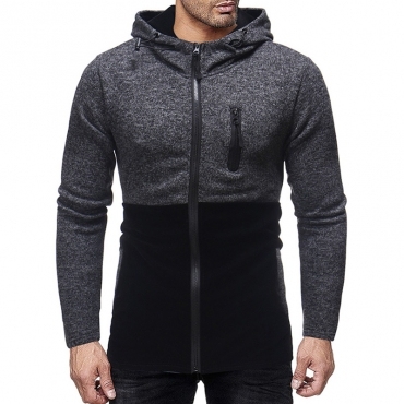 Lovely Casual Patchwork Zippers Design Black Hoodies