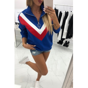 Lovely Euramerican Patchwork Blue Cotton Hoodies