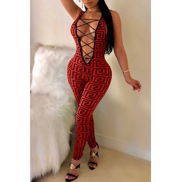 Lovely Sexy Printed Hollowed-out Skinny Red One-piece Jumpsuit
