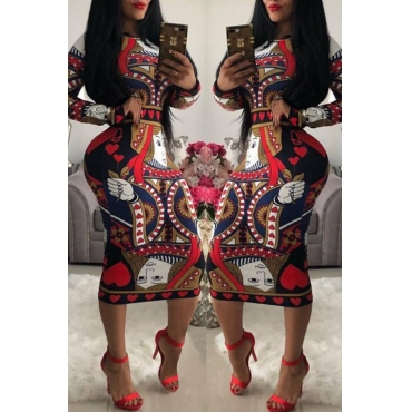 Lovely Trendy Poker Printed Red Knee Length Dress