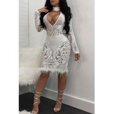 Lovely Sexy Long Sleeves Patchwork White Knee Length Dress
