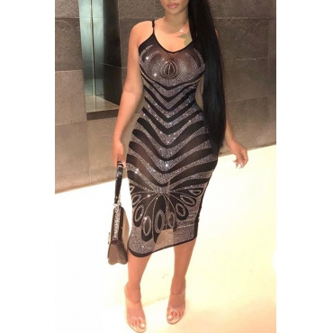 Lovely Sexy See-through Black Blending Mid Calf Dress