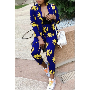 Lovely  Casual Printed Yellow Twilled Satin Two-piece Pants Set
